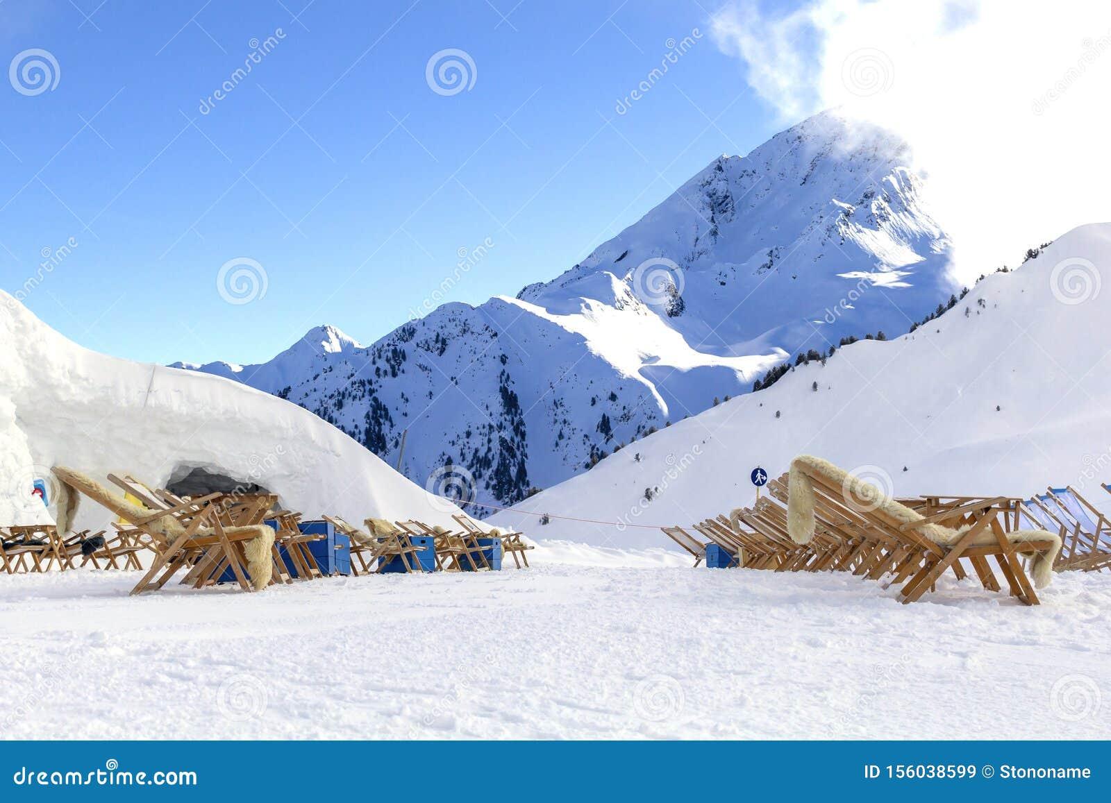 Austrian Alps ski resort in winter.Alpine Alps mountain landscape at Tirol, Top of Europe