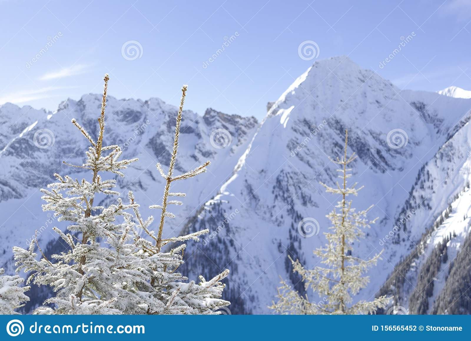 Austrian Alps in winter.Alpine Alps mountain landscape at Tirol, Top of Europe