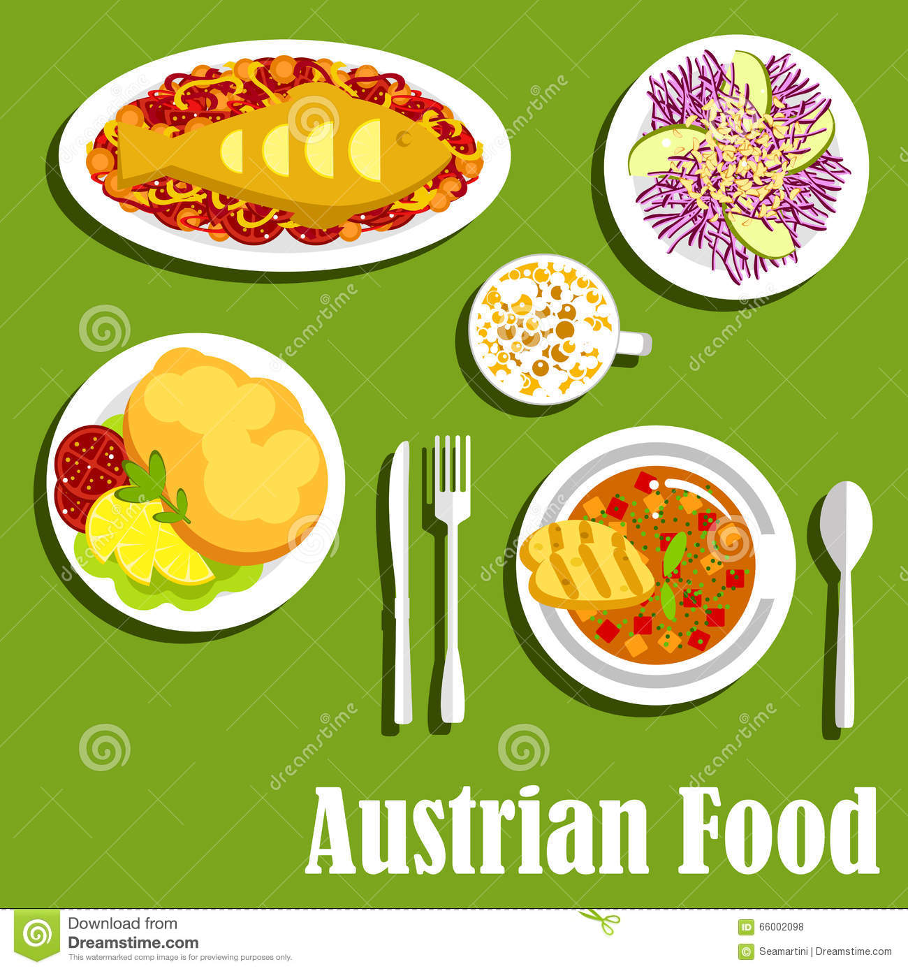 Austrian cuisine dishes and beverages stock vector image for Austrian cuisine