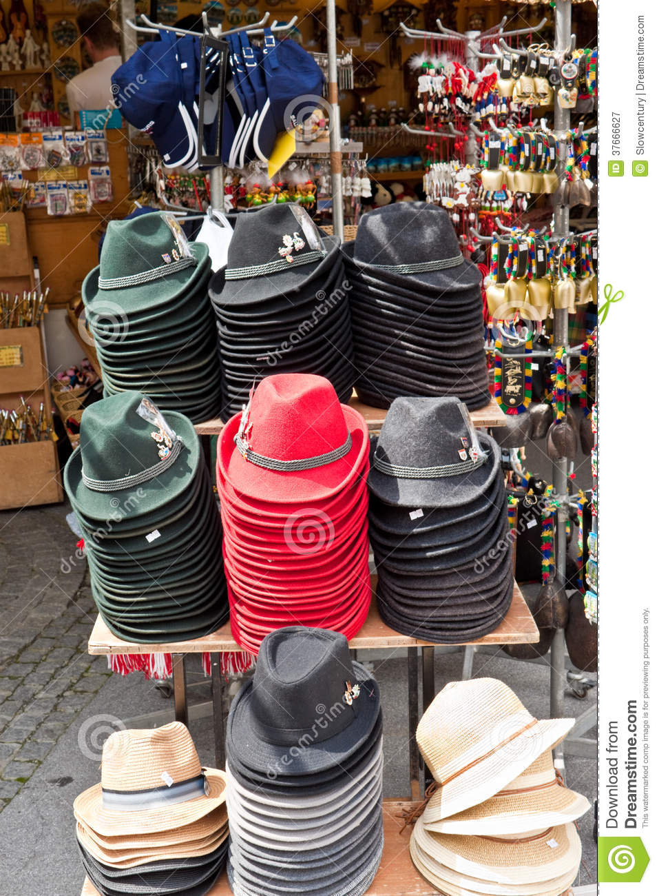 01c1e2cf SALZBURG, AUSTRIA - JULY 3, 2013: Traditional austrian hats for sale in a  outdoor souvenir shop in the center of Salzburg.
