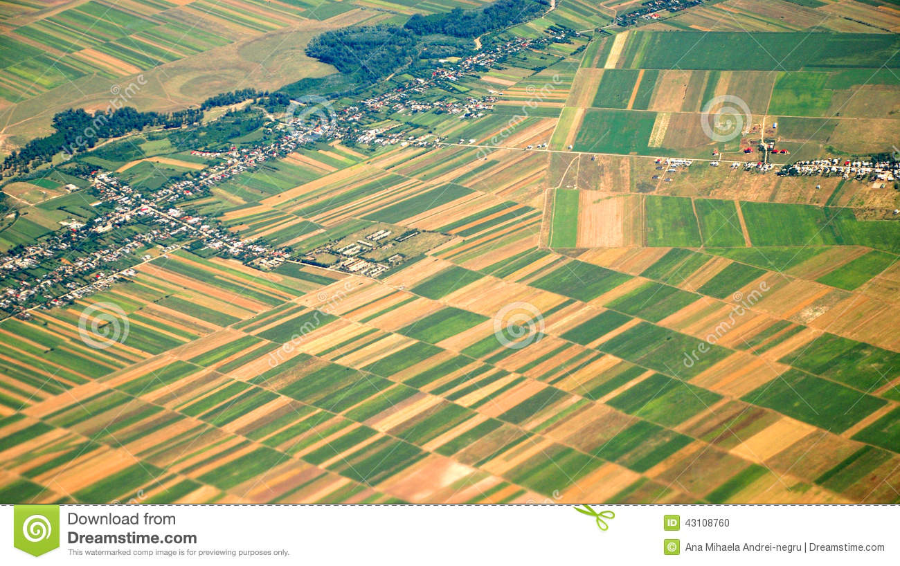Austrian cultivated land seen from a plane