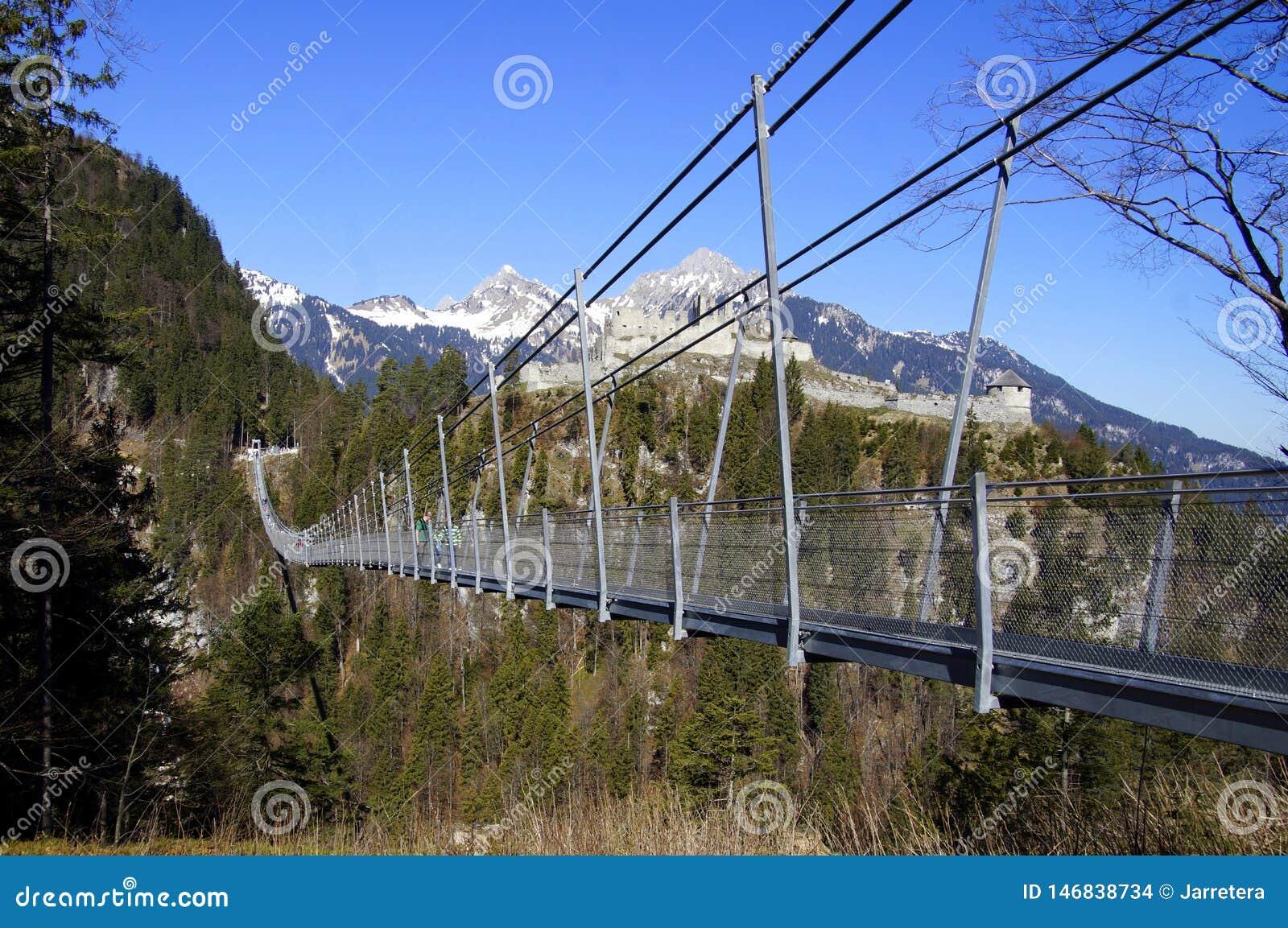 Austrian Suspension Footbridge Highline20 Against a Blue Sky ...