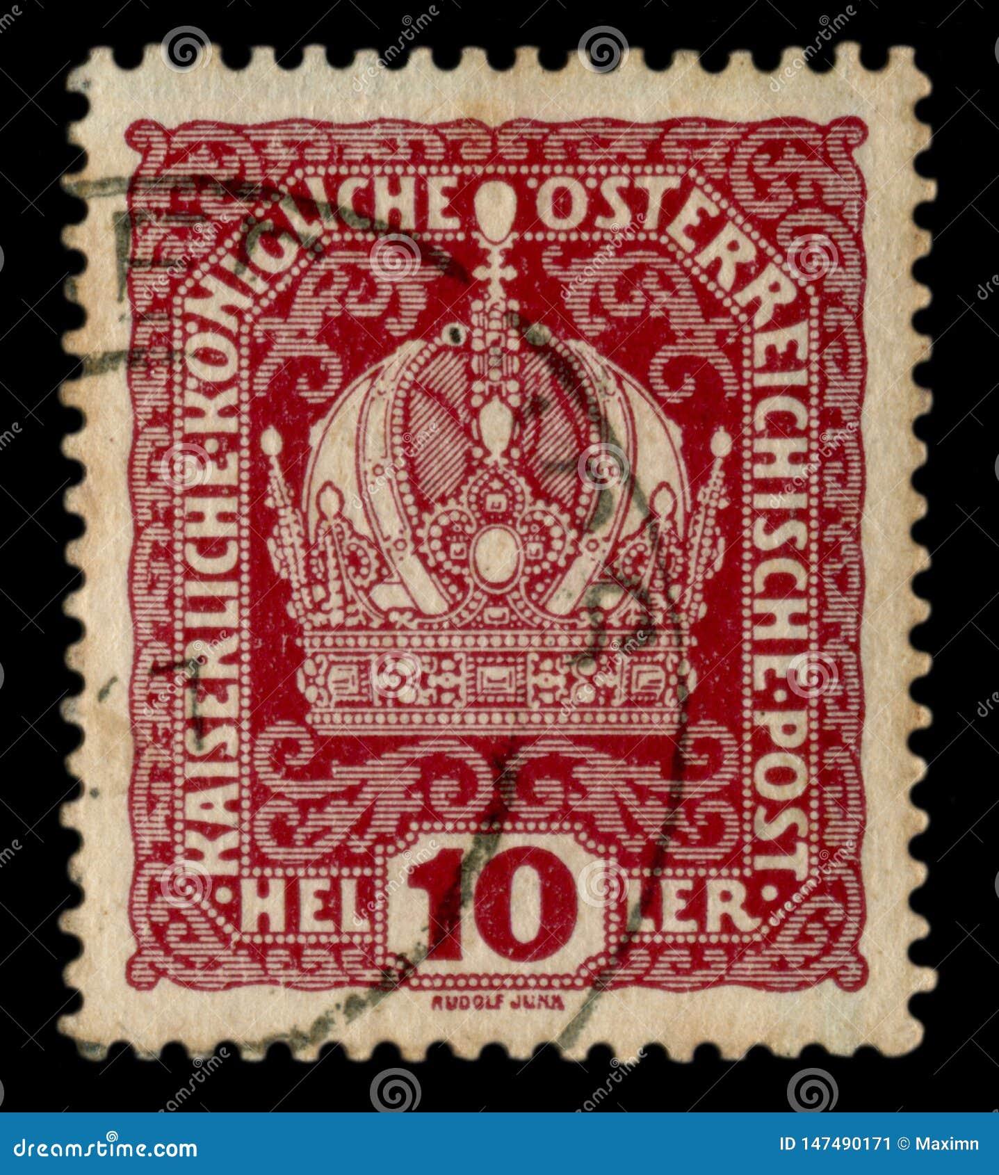 Austro-węgierski imperium około 1914 -: Austriacki dziejowy znaczek: Wizerunek Cesarska korona z kwiatów kędziorami, kasowanie, w