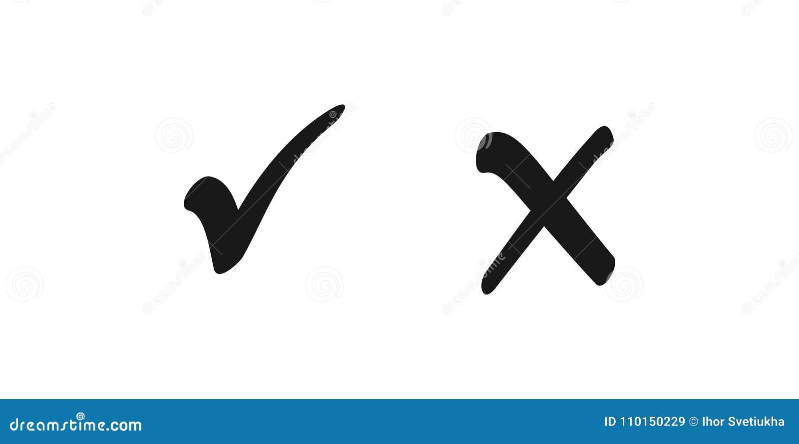 Auswahlkästchenlistenikonen ticken und kreuzen, die schlechten Noten, die auf weißem Hintergrund lokalisiert werden Auch im corel