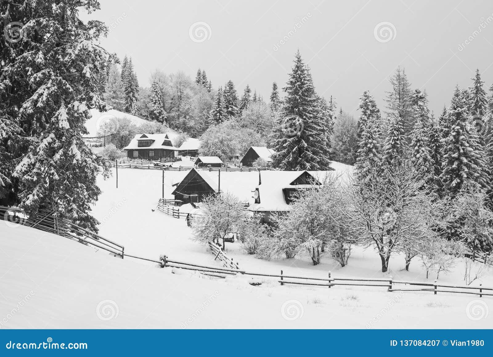 Autentisk carpathian by som täckas med snö