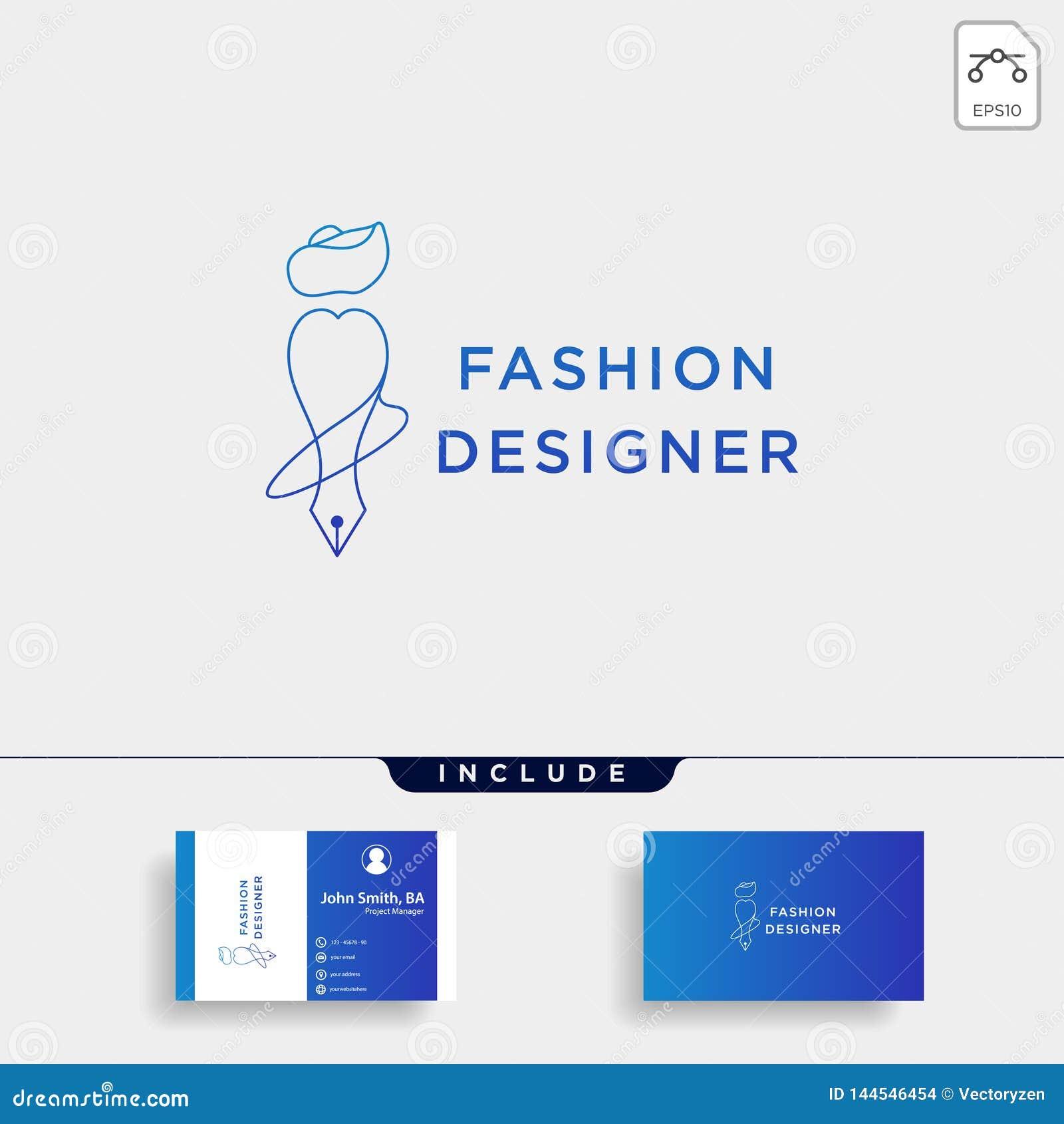 Auteur ou concepteur de mode dans la ligne simple élément d icône d illustration de vecteur de calibre de logo