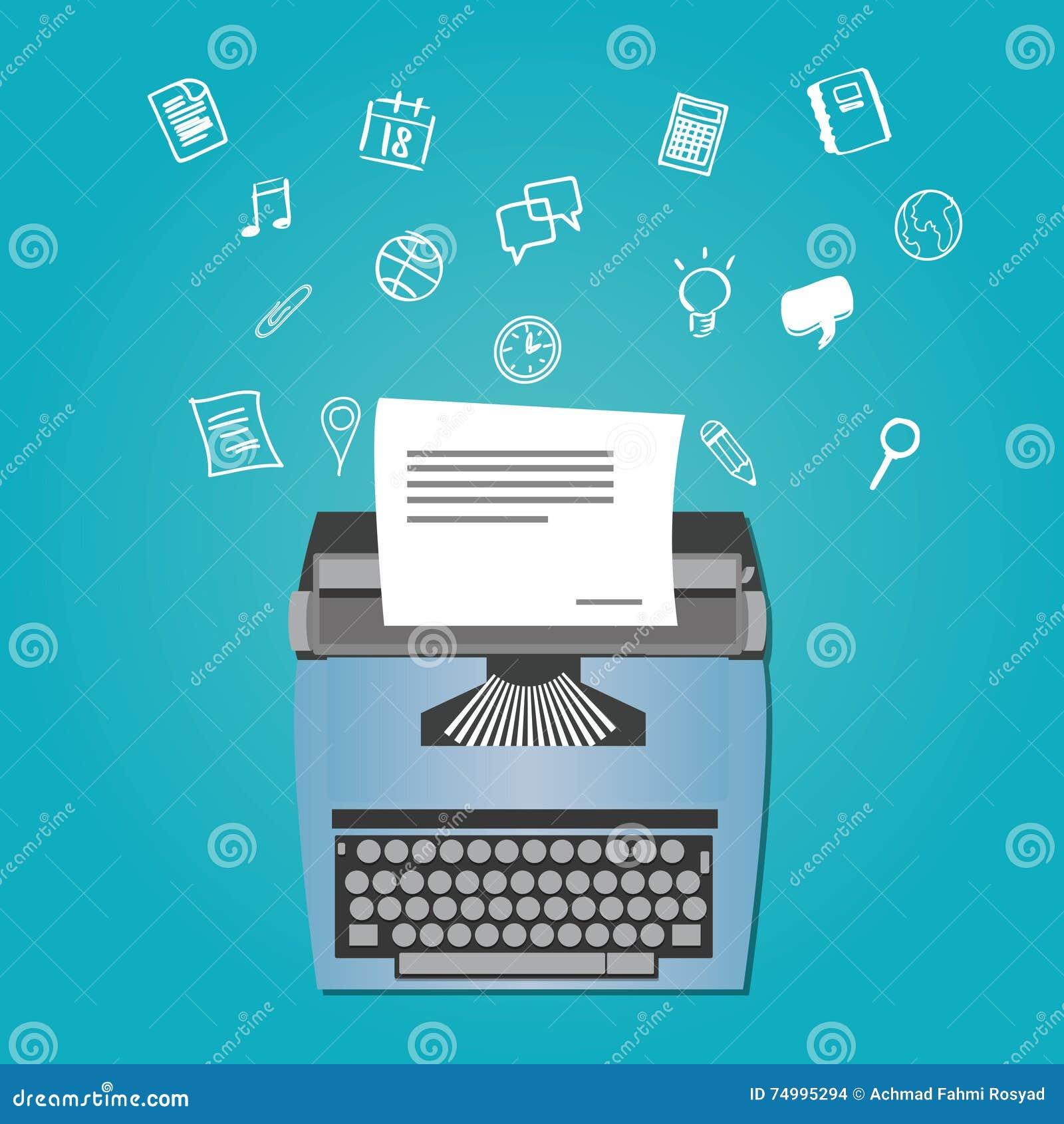 Auteur satisfait comme redacteur publicitaire avec la machine à écrire