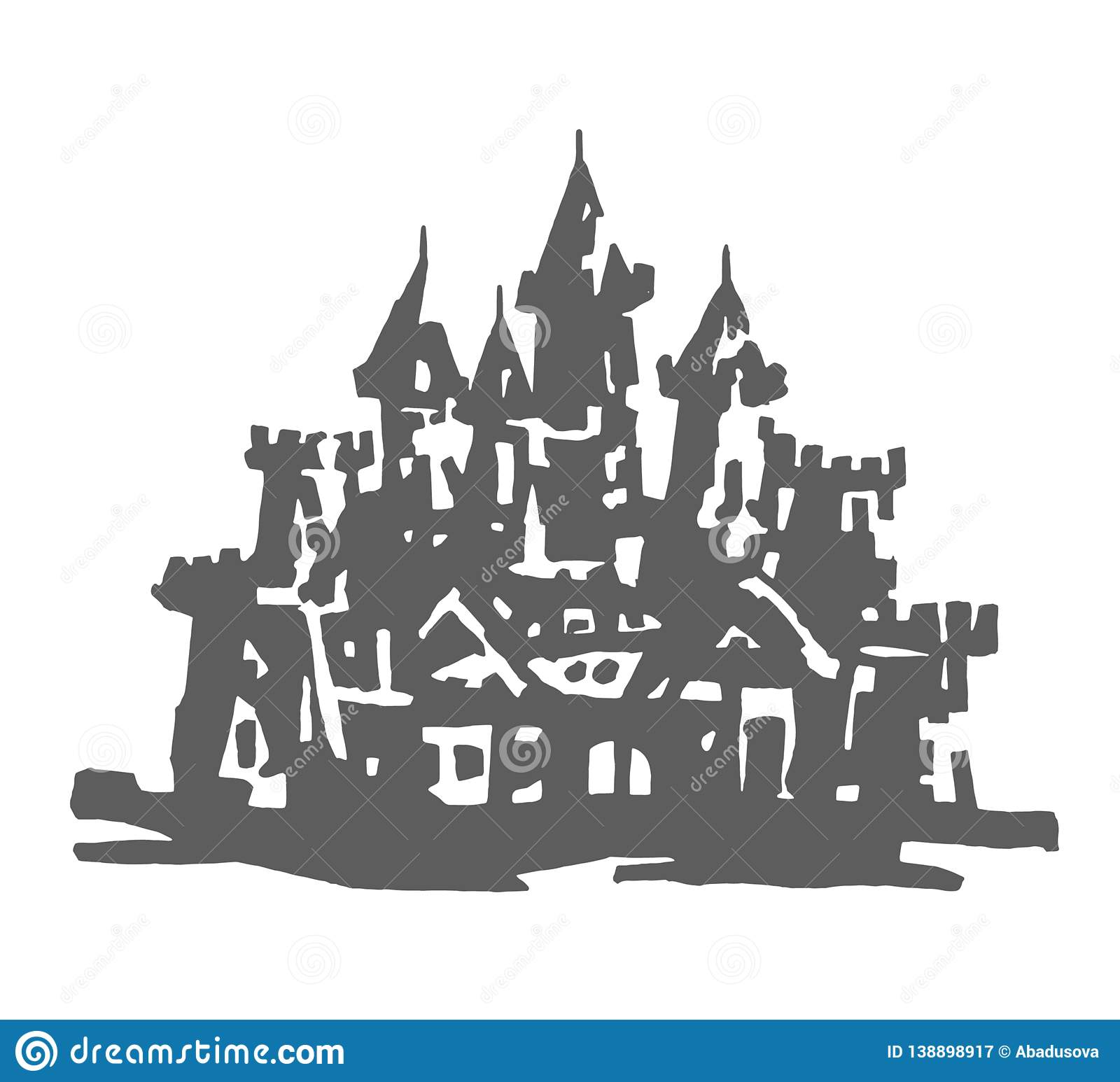 Authentic Castle tower hand drawn