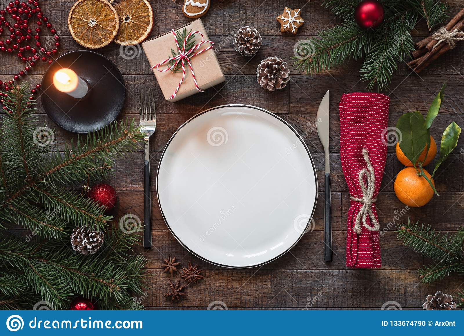 Christmas Top View.Authentic Christmas Table Setting Top View Stock Photo