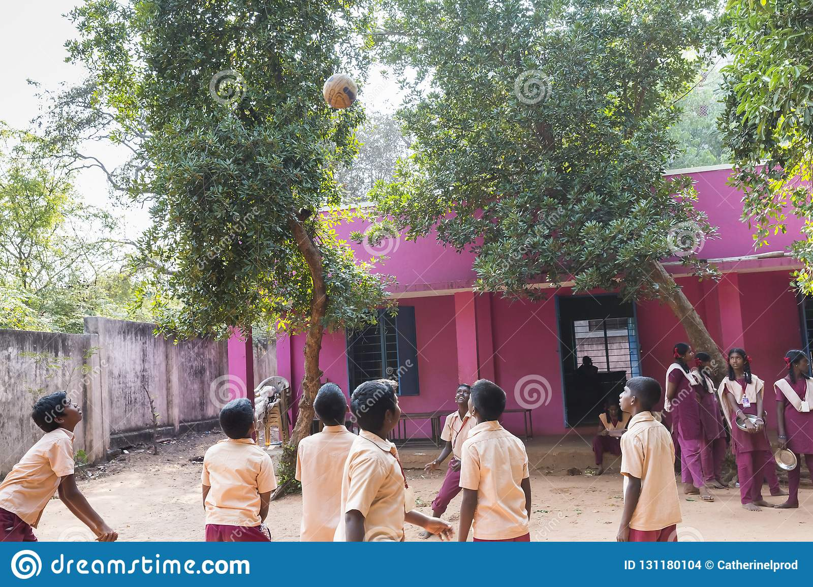 Authentic Indian Children With Uniforms In Playground At
