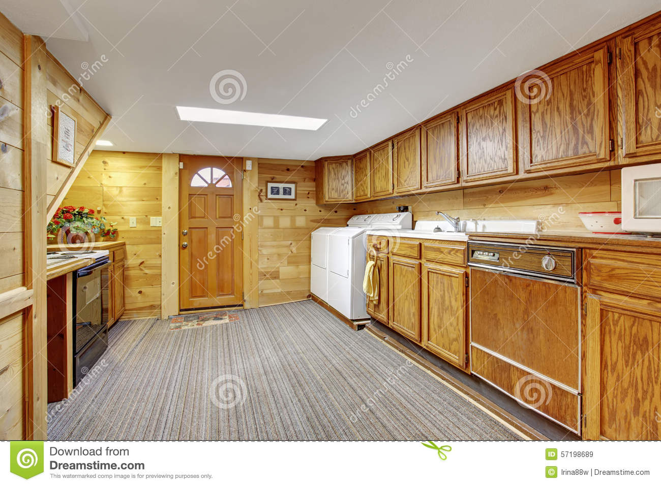 Download Authentic Kitchen Laundry Room Combo With Carpet. Stock Image    Image Of Hardwood,