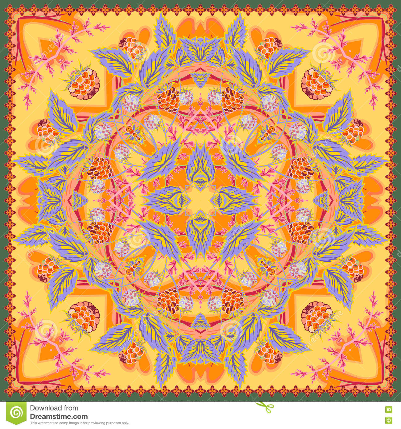 6d09c742ac4b3 Floral tablecloth background. Strawberry authentic silk neck scarf or  kerchief square pattern design for print on fabric, vector illustration.  Orange yellow ...