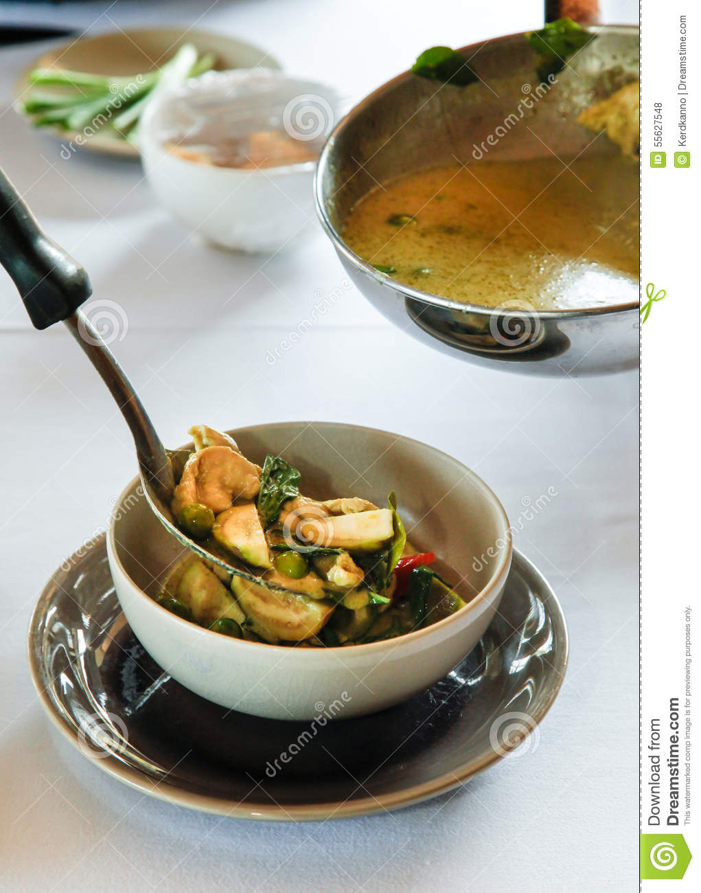 Authentic thai cuisine with decoration stock photo image for Authentic thai cuisine