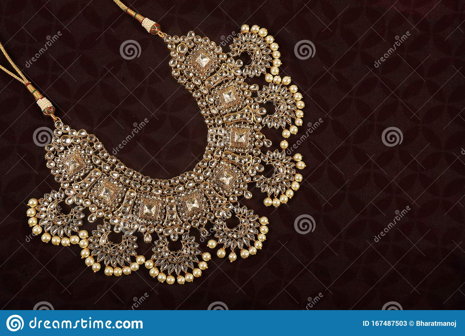 Authentic Traditional Indian Jewellery Necklace On Dark Background Wear In Neck In Wedding Festivals And Other Occasion Very Stock Image Image Of Design Beautiful 167487503
