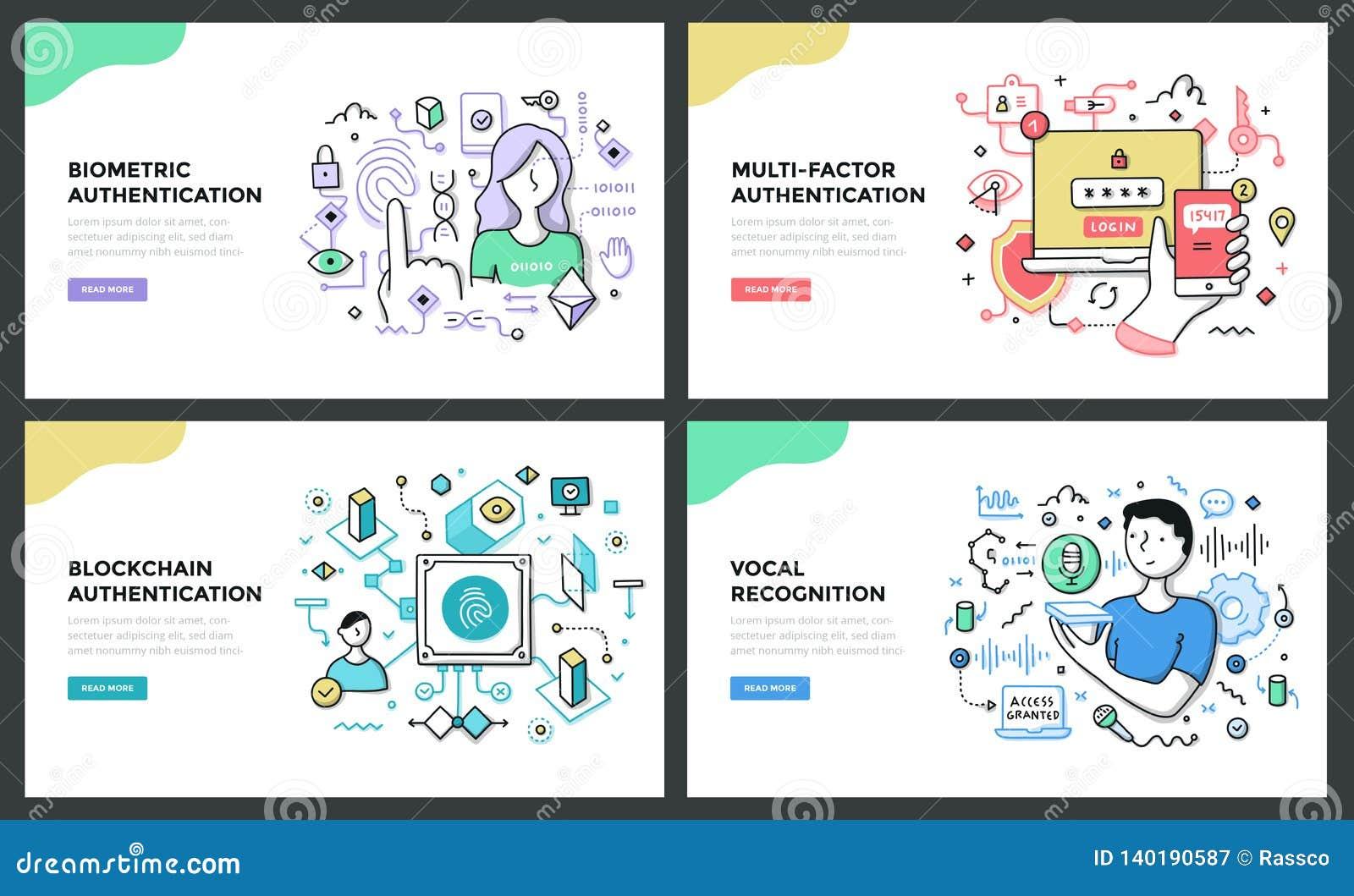Authentisierungs-Technologie-Farblinie-Konzepte