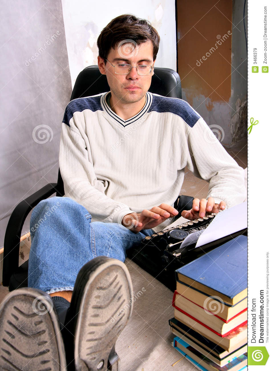 Author typing a bestseller