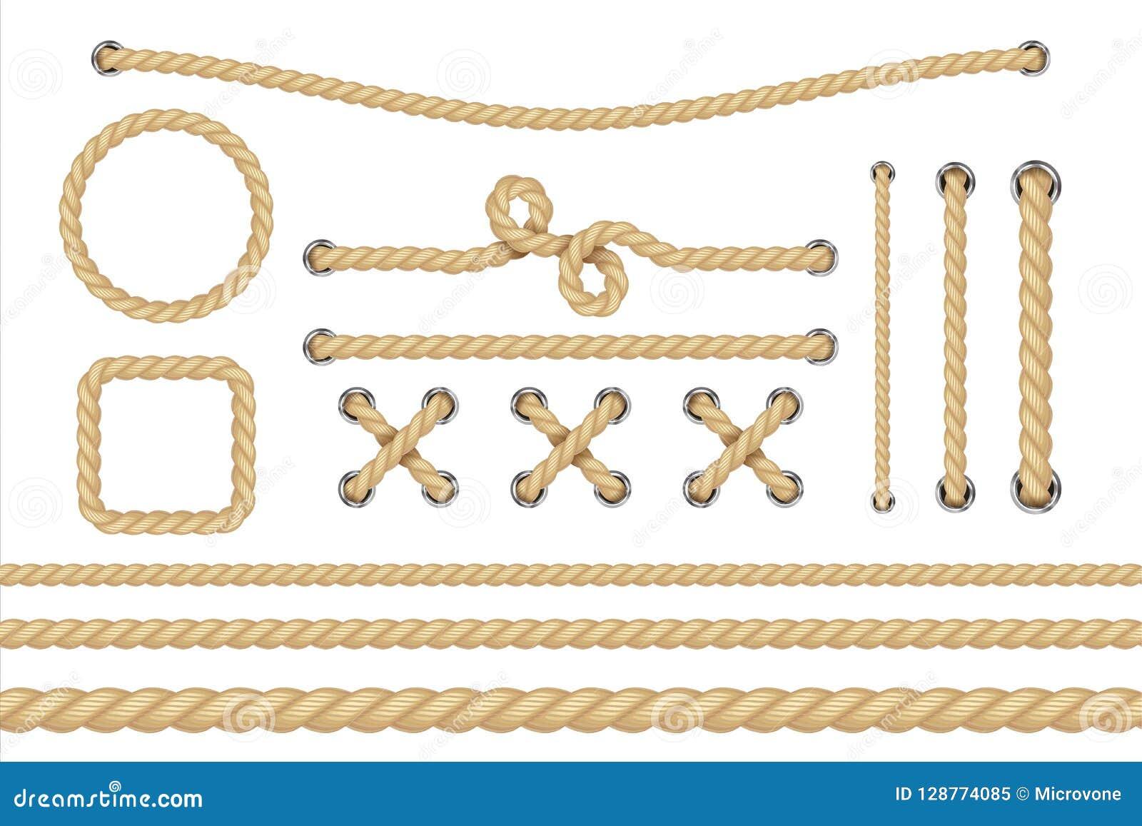 Autical Seil Ringsum und quadratische Seilrahmen, Schnurgrenzen Segelnvektor-Dekorationselemente