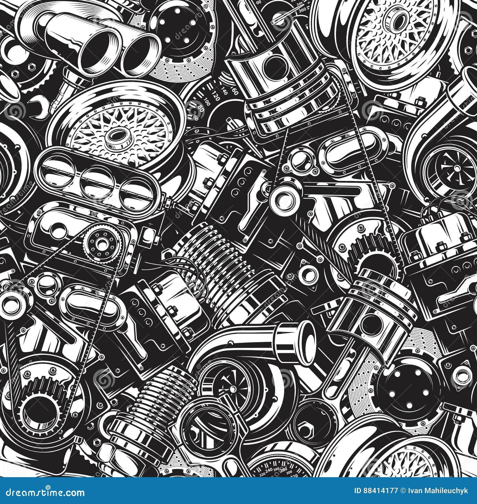 Autimobile samochodowych części bezszwowy wzór