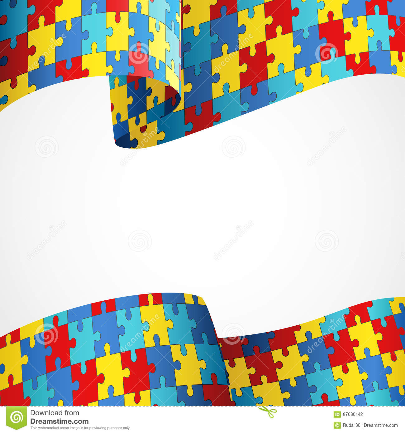Autism Awareness Colorful Puzzle Flag Stock Vector Illustration Of