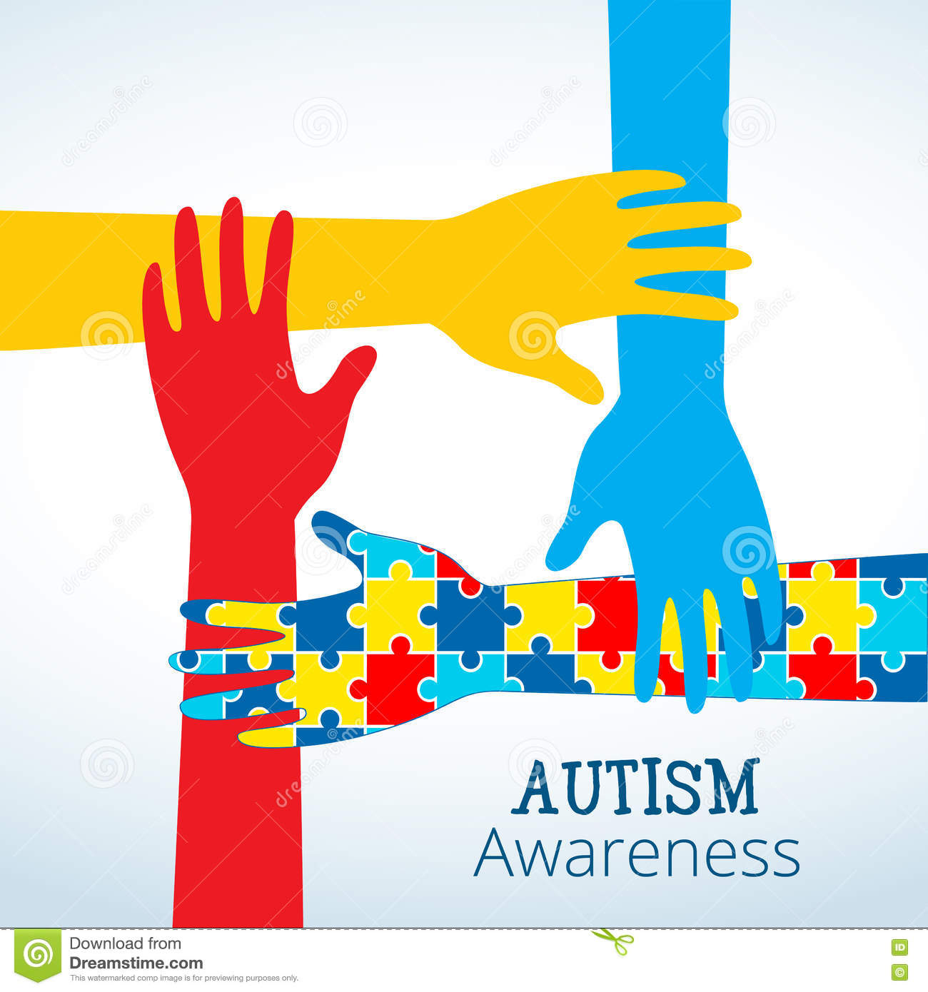 Autism Awareness Concept With Hand Of Puzzle Pieces Stock Vector