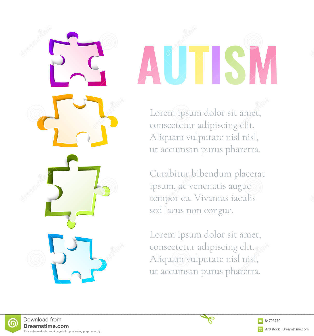 Autism Awareness Puzzle Template