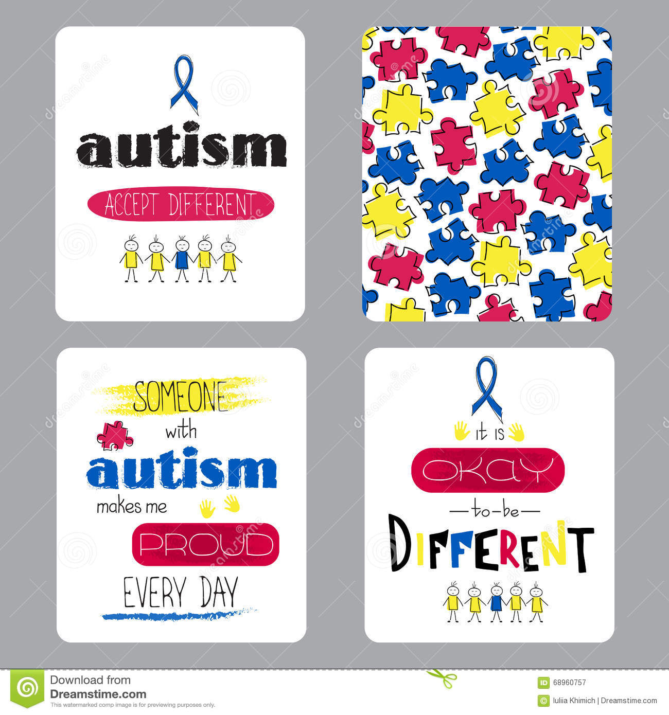 Autism awareness set of cards stock vector illustration of child vector set of small card templates hand drawn lettering for world autism awareness day for greeting cards brochures tags and labels souvenirs m4hsunfo