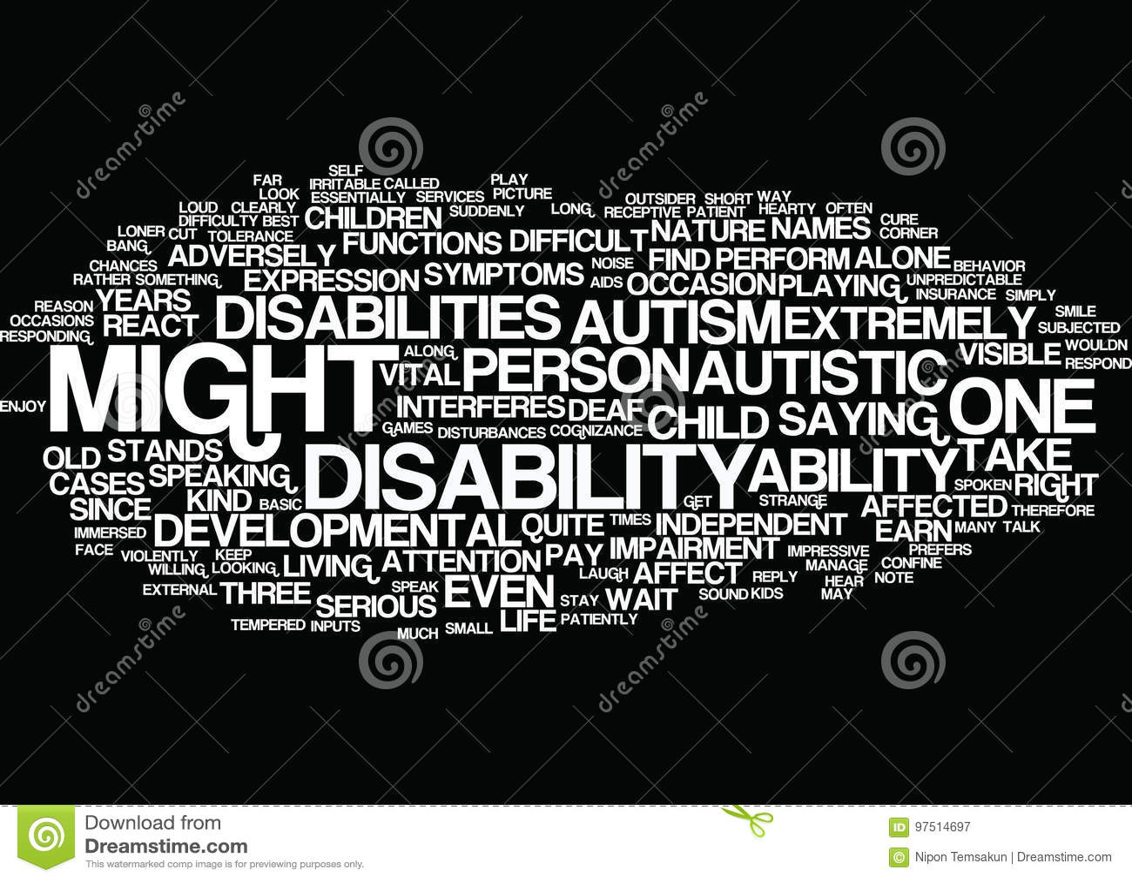 Autism A Difficult Developmental Disability Word Cloud Concept