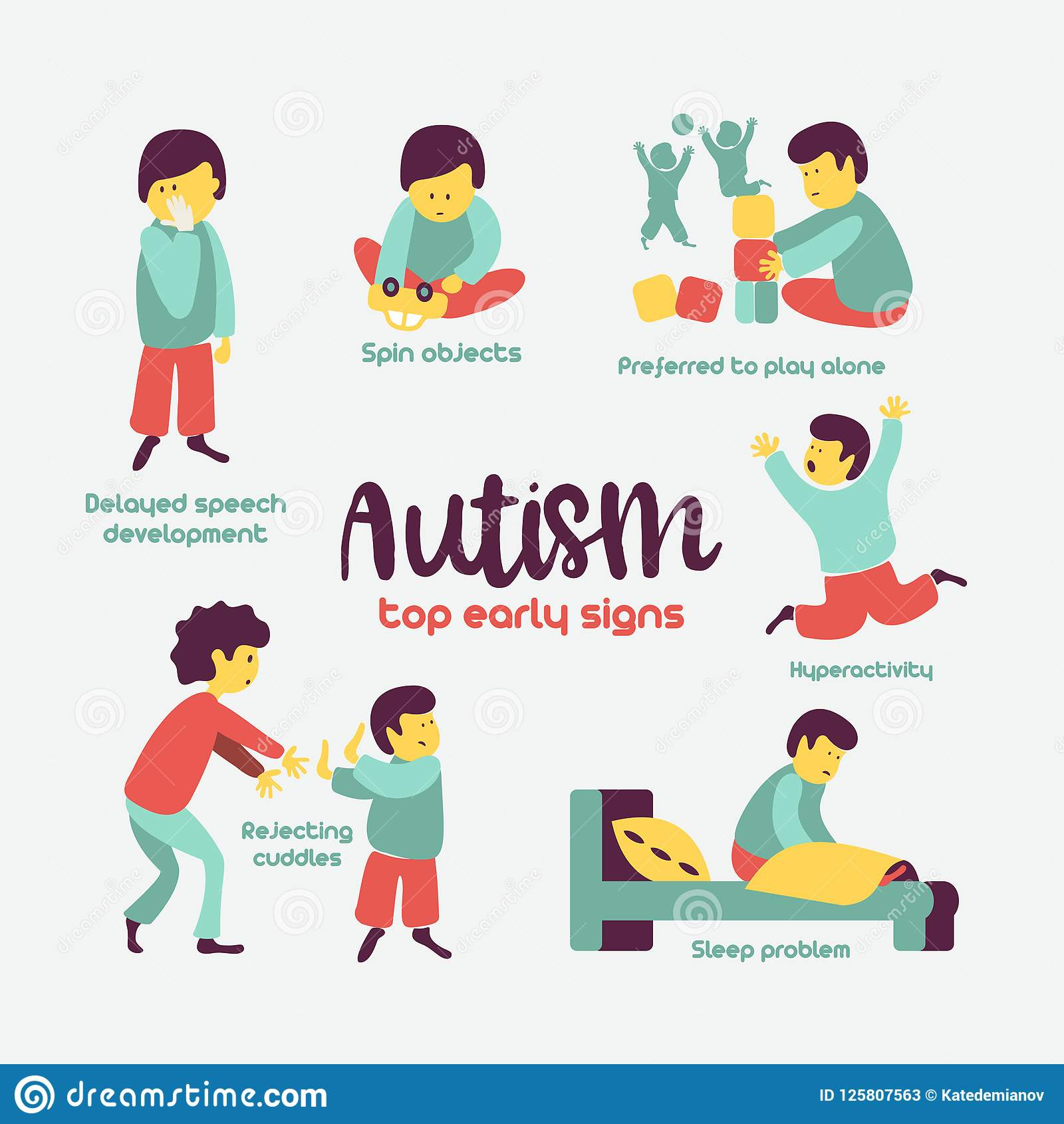 Autism Early Signs Of Autism Syndrome In Children Vector Illus