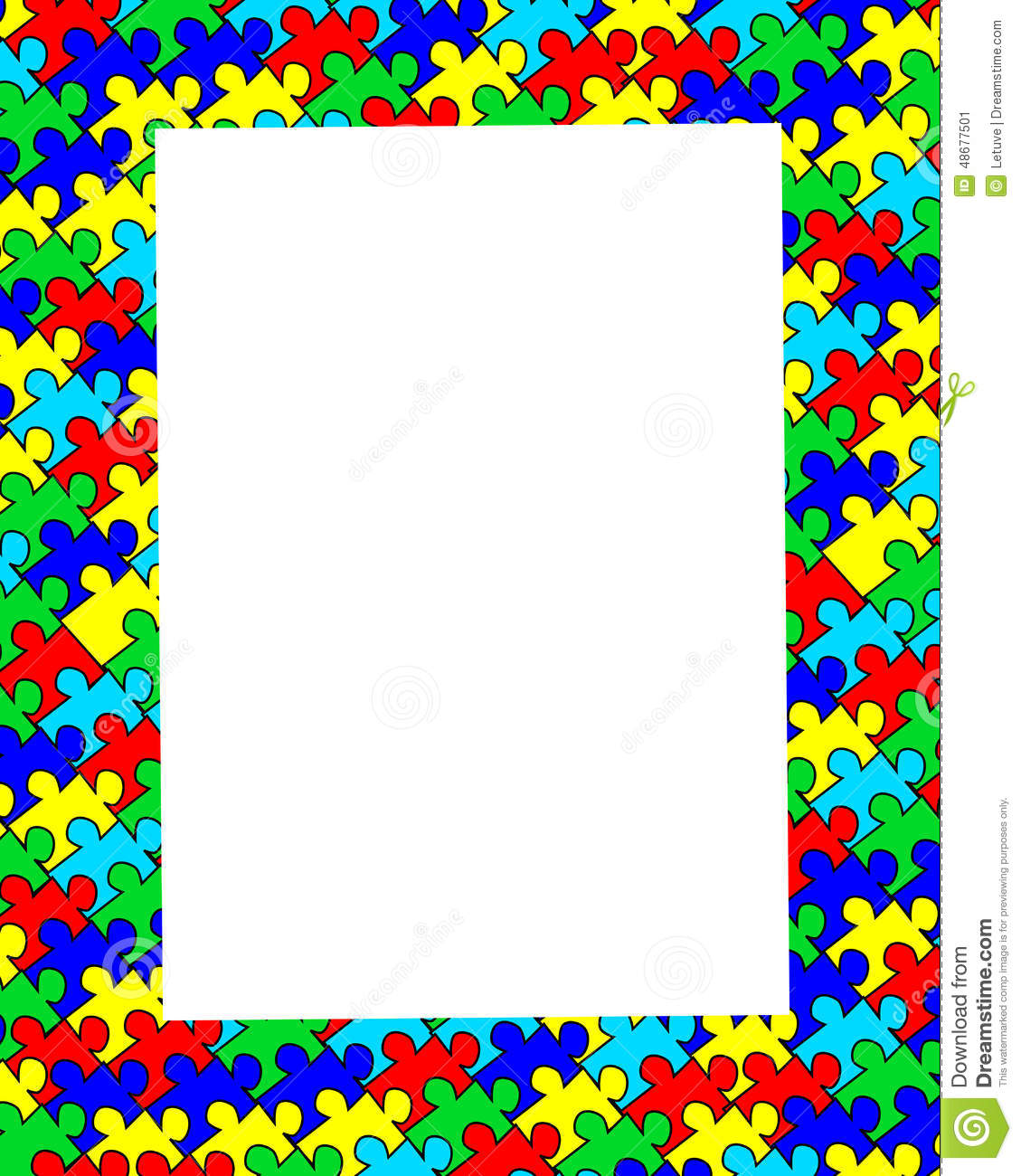 autism jigsaw border frame stock illustration illustration of