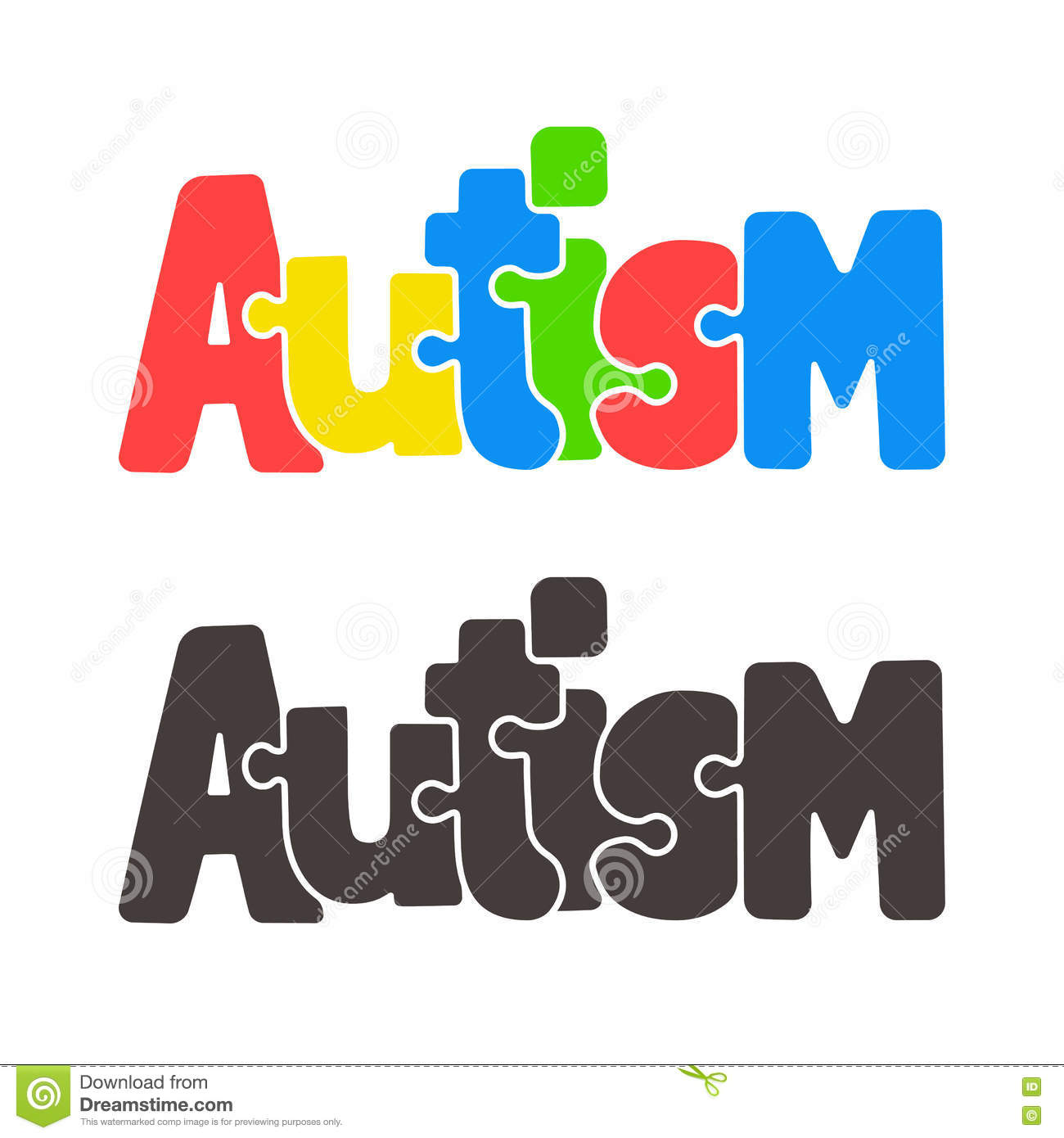 Autism jigsaw puzzle text stock vector  Illustration of graphic