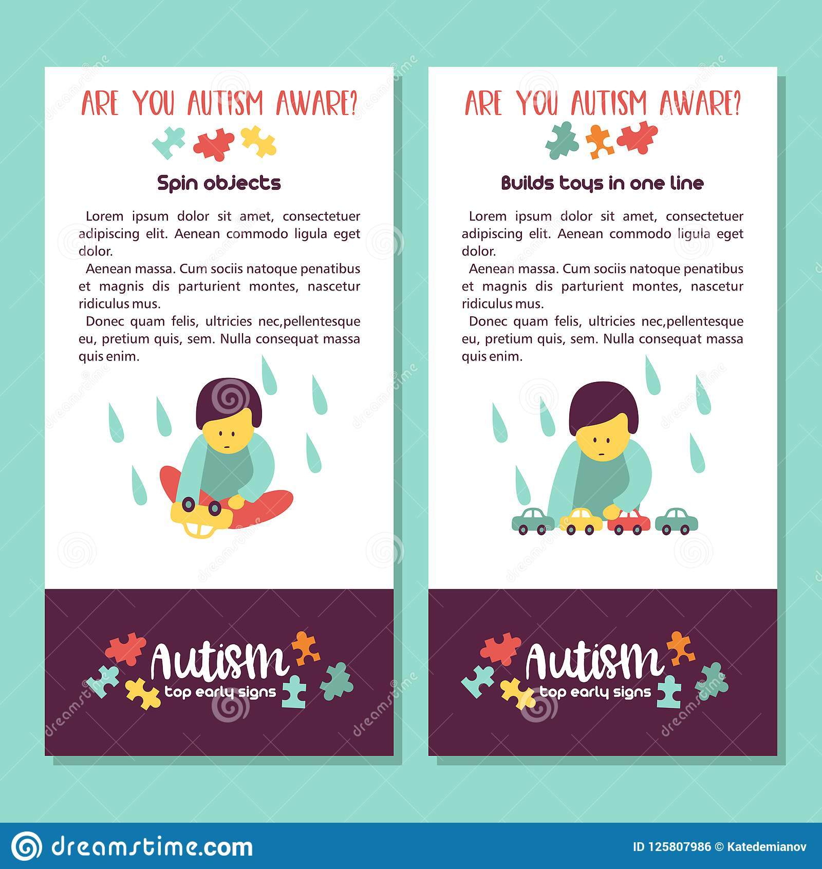 Autism Signes tôt de syndrome d autisme chez les enfants Illus de vecteur