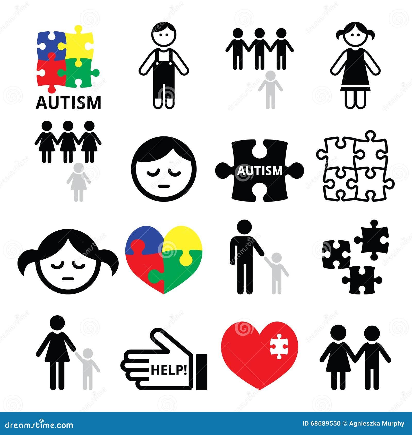 Autismmedvetenhetpussel, autistiska barnsymboler
