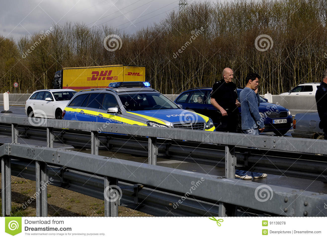 Auto Accident On Germnay Motorway Editorial Stock Photo - Image of