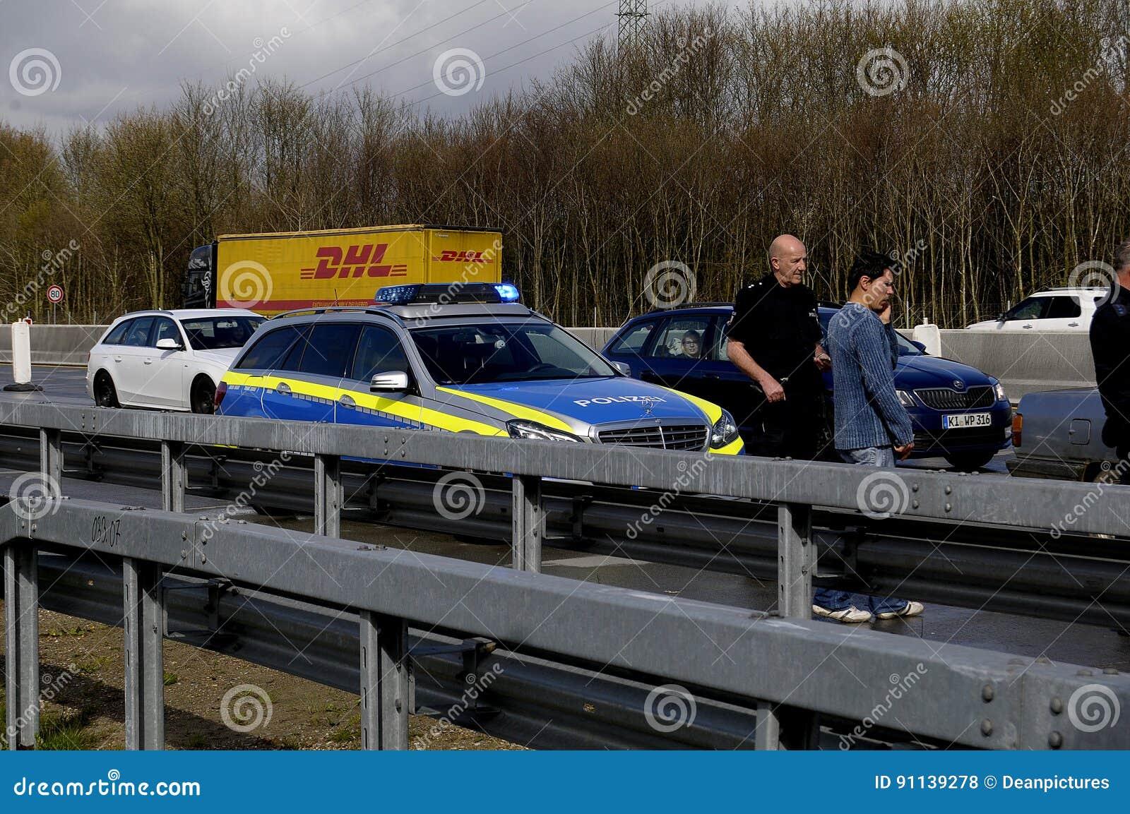 Auto Accident On Germnay Motorway Editorial Stock Photo