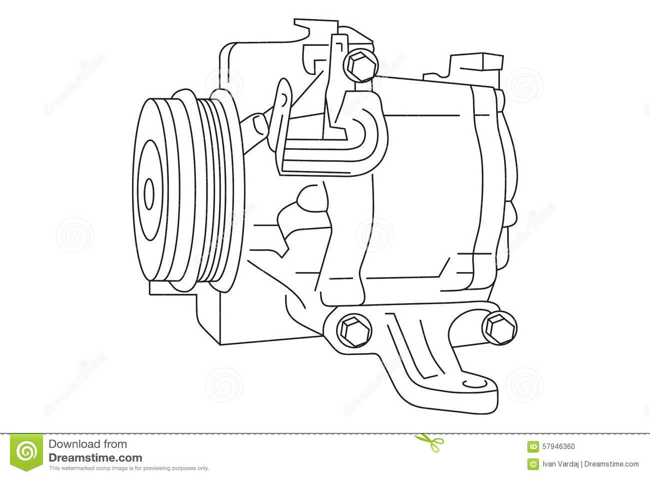 Auto Air Conditioner Compressor Draft Stock Vector Illustration Of