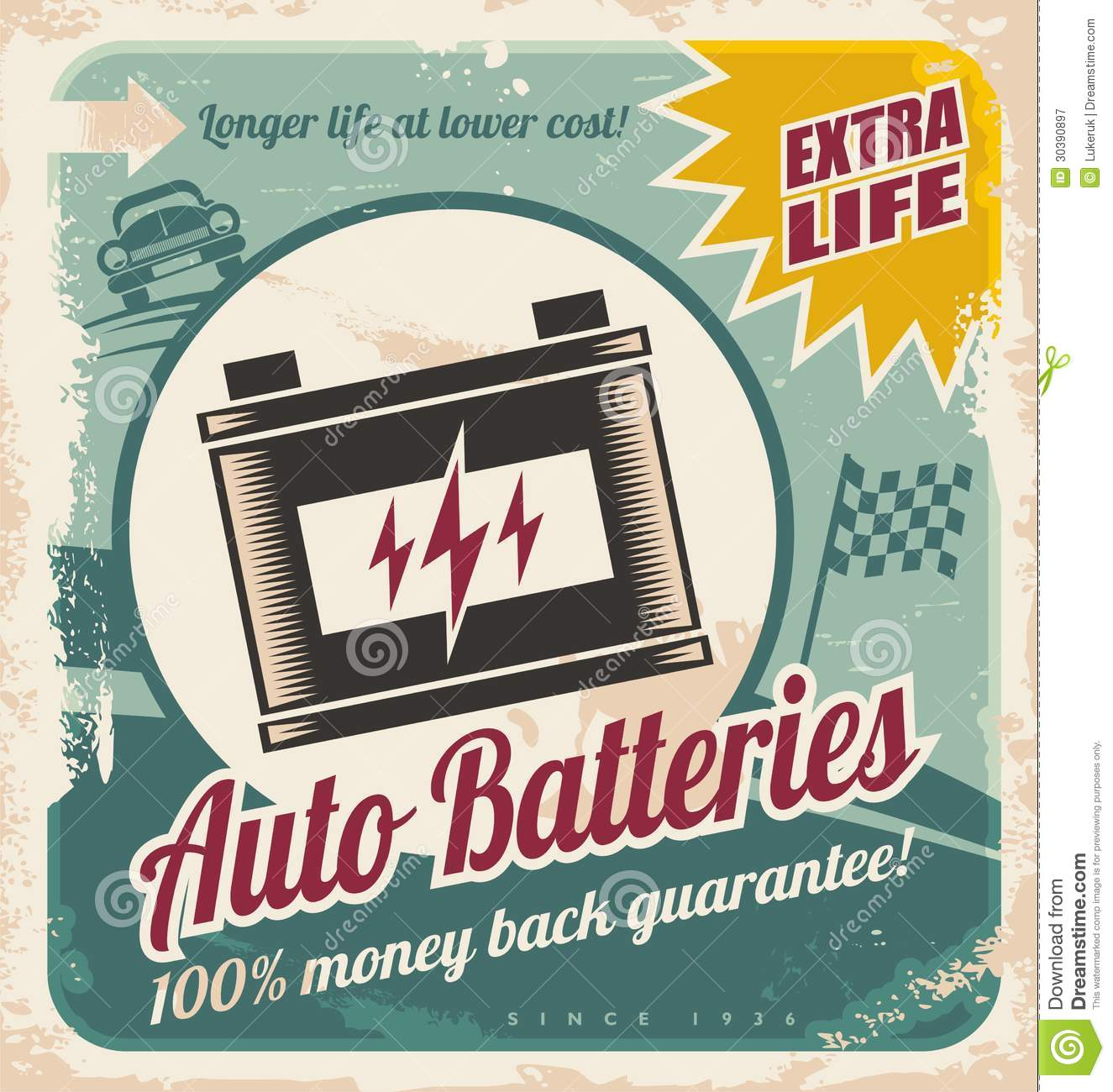 Poster design 50s - Auto Batteries Vintage Poster Design Royalty Free Stock Photography