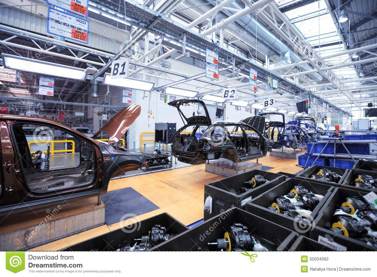 Auto Body On Conveyor Line At Car Plant Editorial