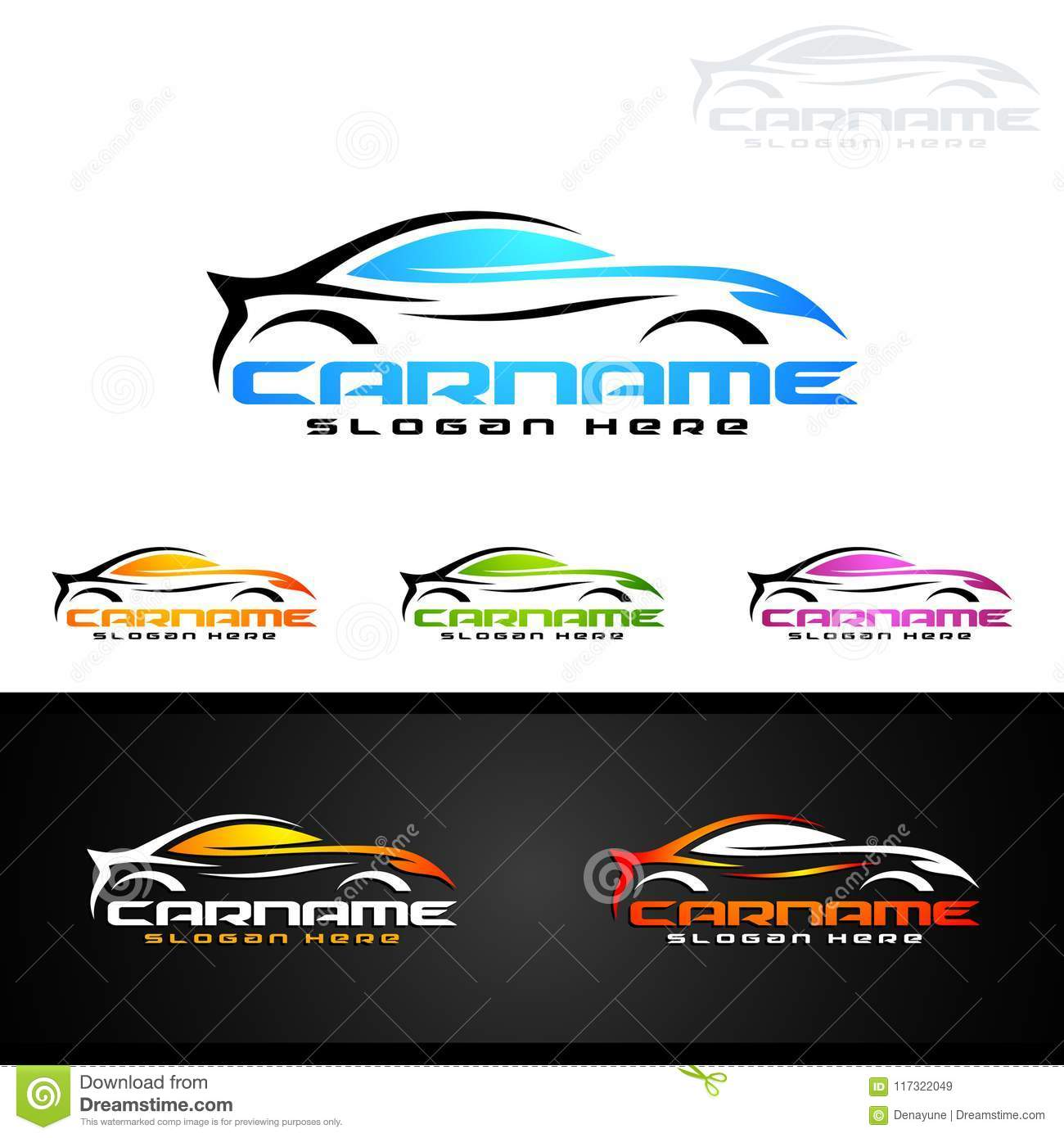 Auto Car Logo For Sport Cars, Rent, Wash Or Mechanic Stock