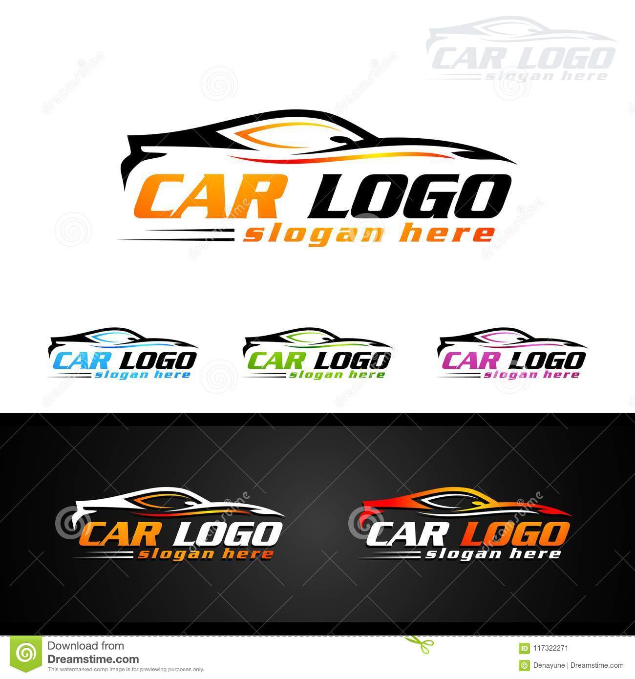 Luxury Sports Car Logos: Auto Car Logo For Sport Cars, Rent, Wash Or Mechanic Stock