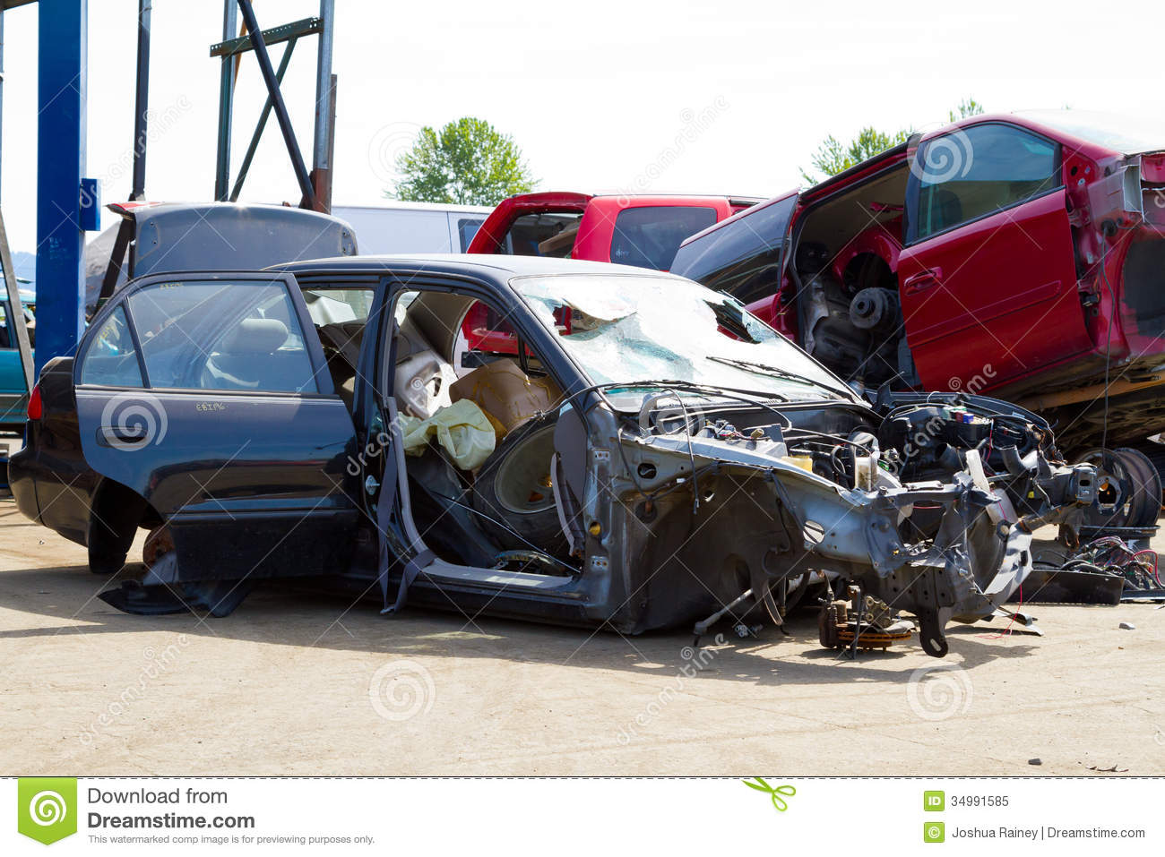 Cash For Clunkers >> Auto Collision Junkyard Detail Royalty Free Stock Photo ...