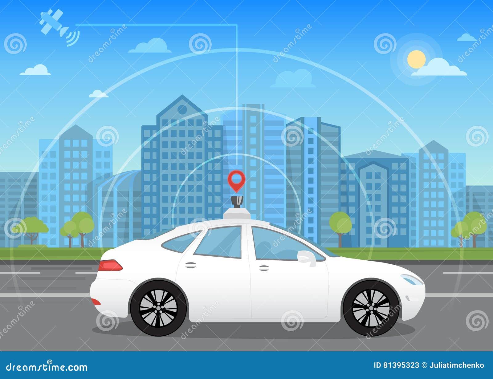 Auto-conduzir o carro driverless inteligente atravessa a cidade usando a navegação moderna