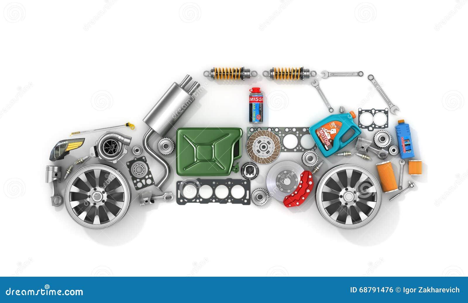 Auto części w formie samochód