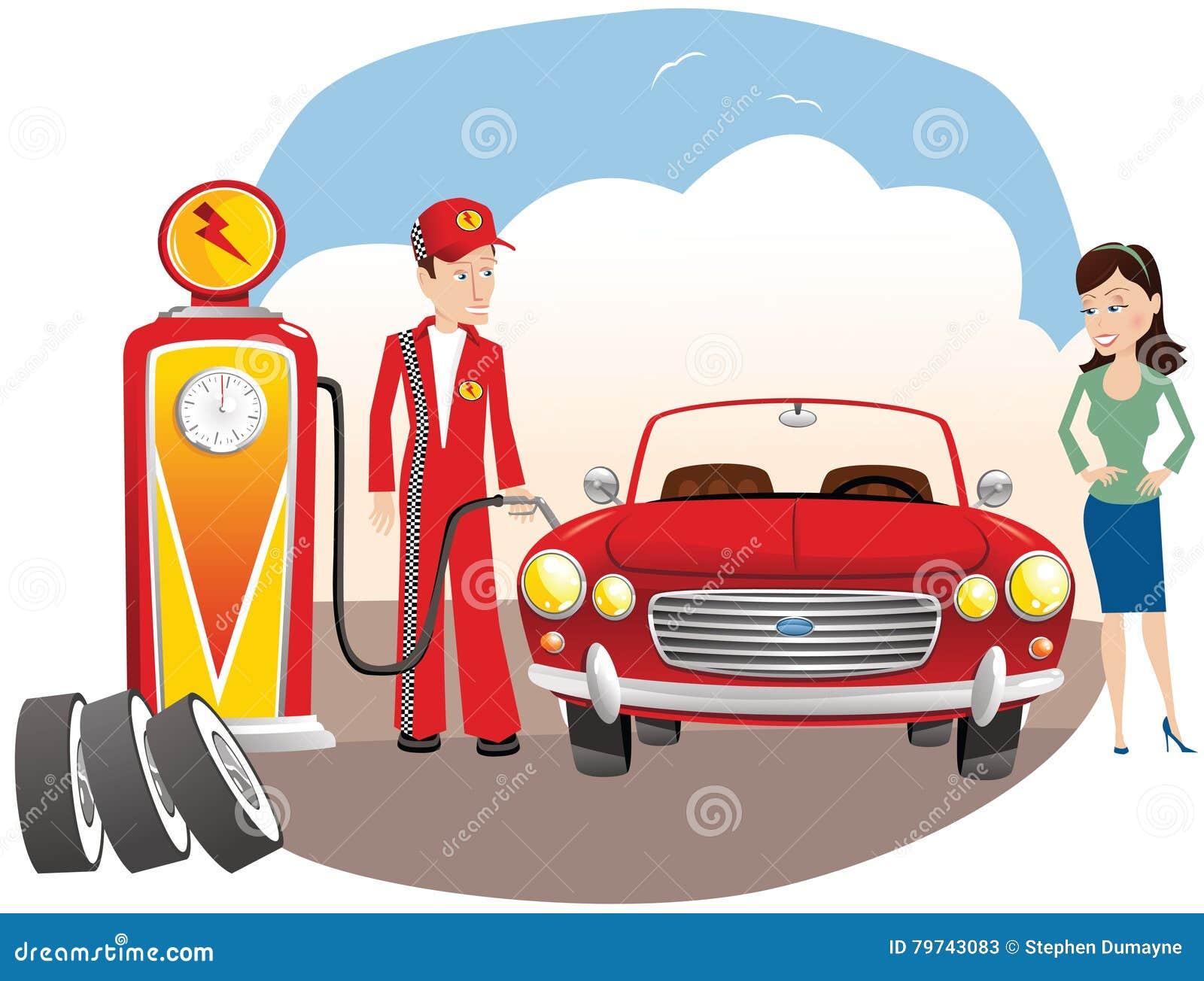 Auto de relleno del mecánico con el gas