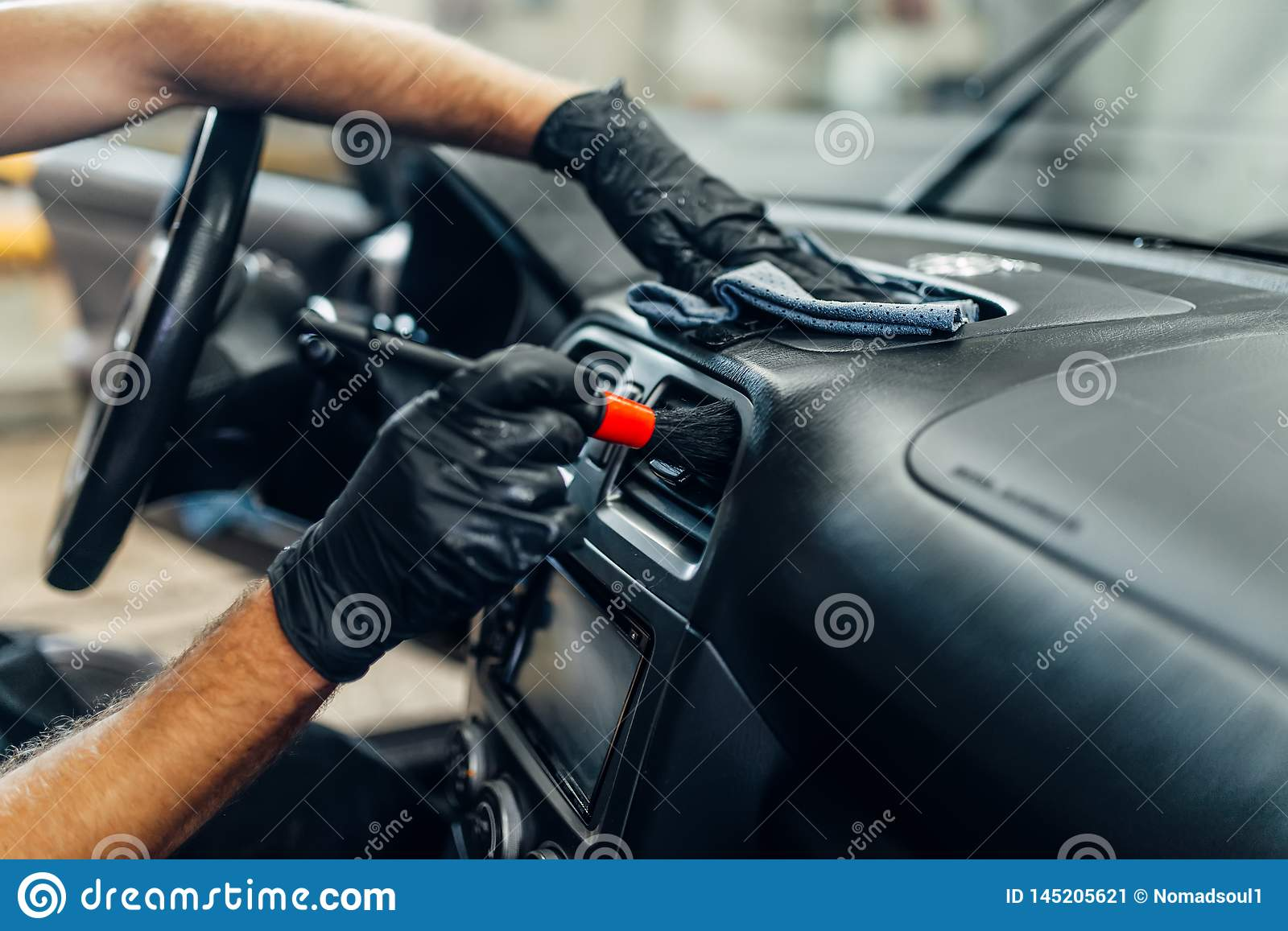 Auto Detailing Of Car Interior On Carwash Service Stock Image - Image of automobile, dirty