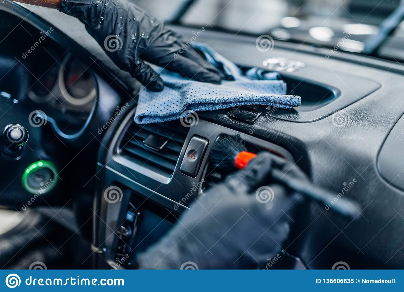 Auto Detailing Of Car Interior On Carwash Service Stock Image - Image of inside, service: 136606835