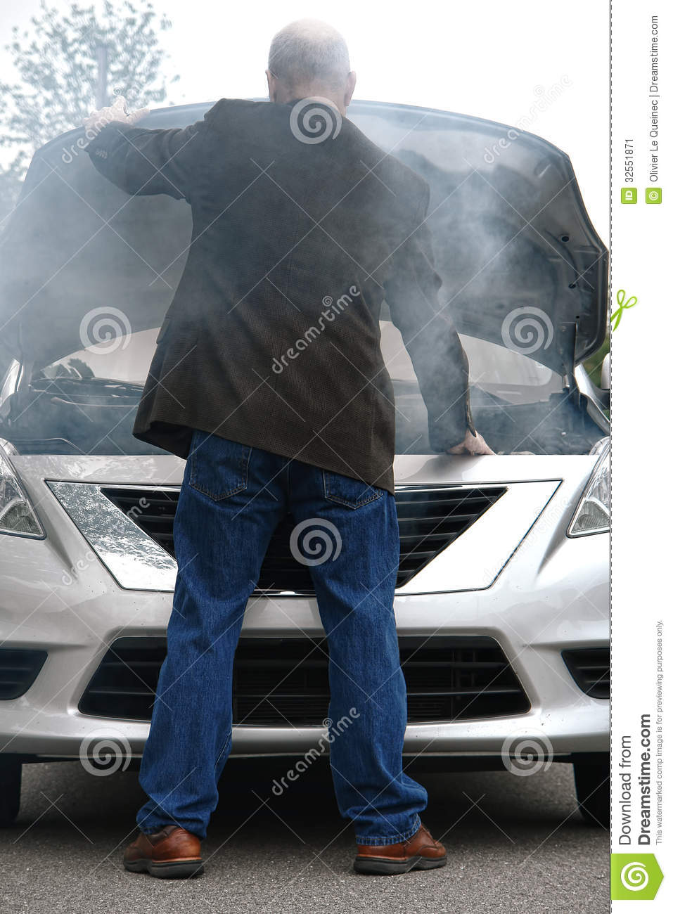Broken Down Abandoned Stock Photos Broken Down Abandoned: Auto Driver And Open Car Engine Hood In Fire Smoke Stock