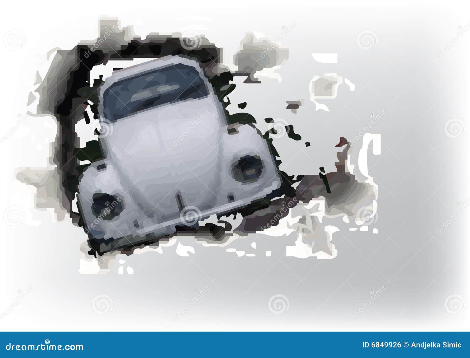 Auto Durch Die Wand Stock Abbildung Illustration Von Kostspielig
