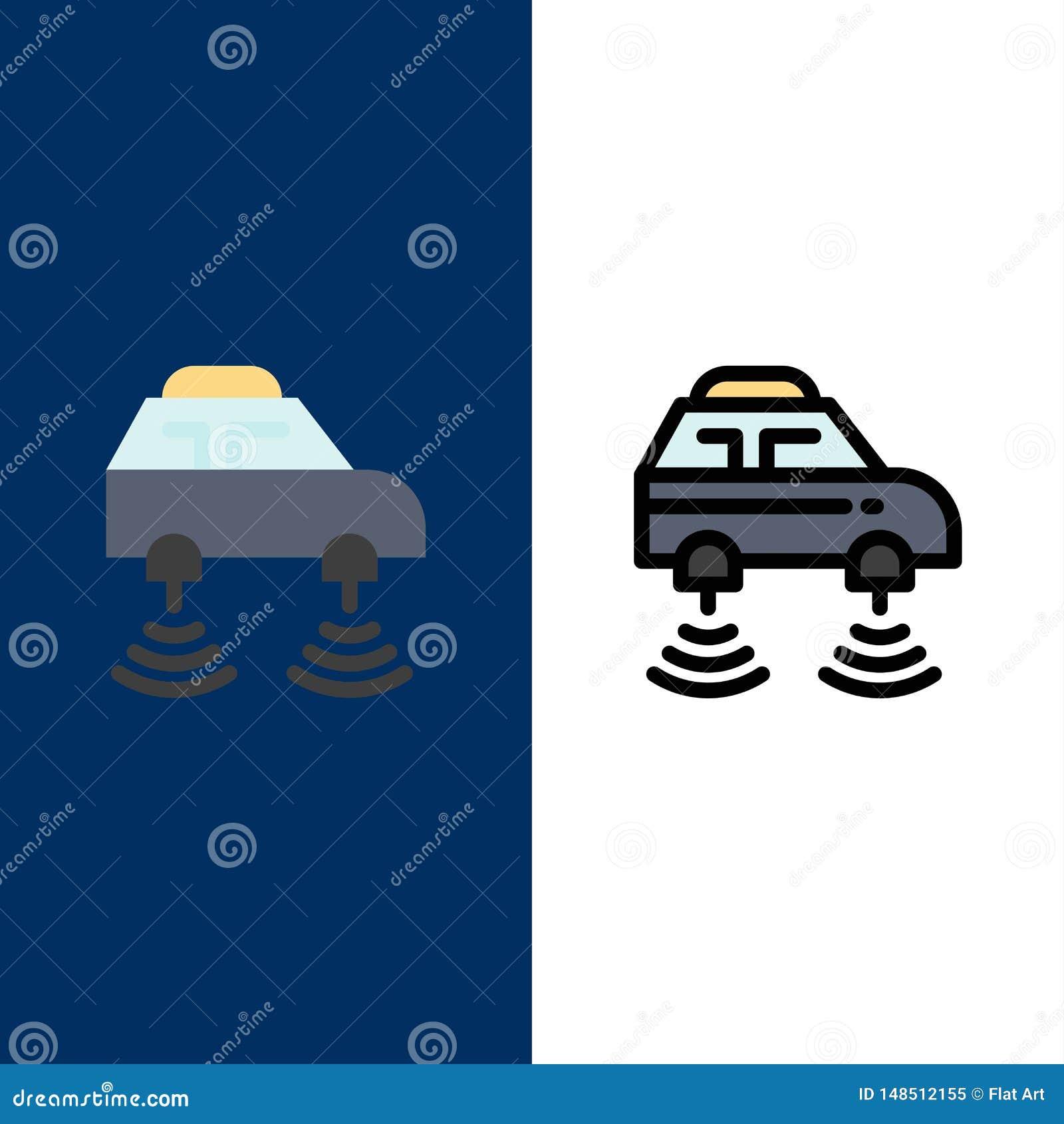 Auto, elektrisch, Netz, Smart, wifi Ikonen Ebene und Linie gefüllte Ikone stellten Vektor-blauen Hintergrund ein