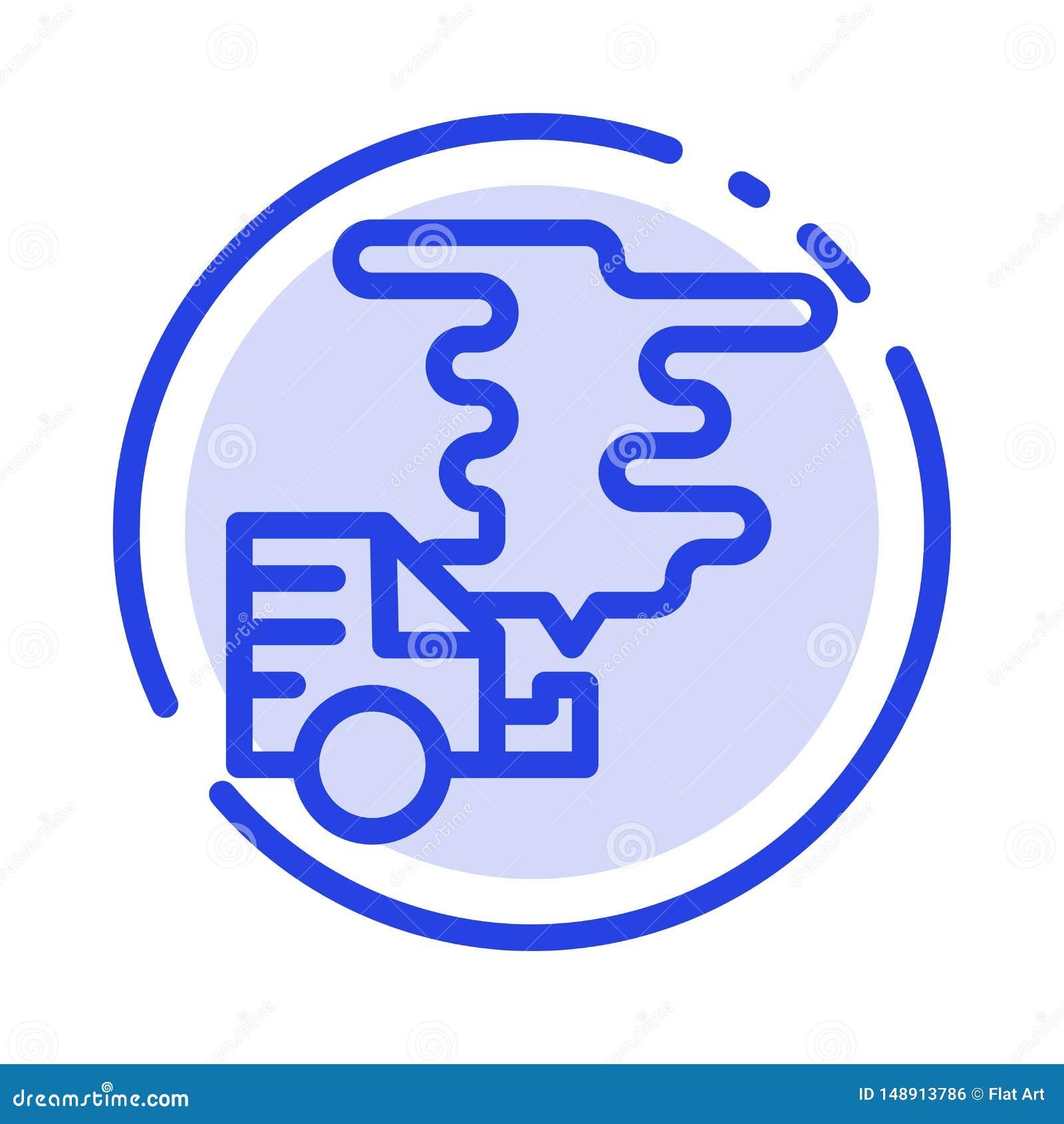 Auto, Auto, Emissie, Gas, de Lijnpictogram van de Verontreinigings Blauw Gestippelde Lijn