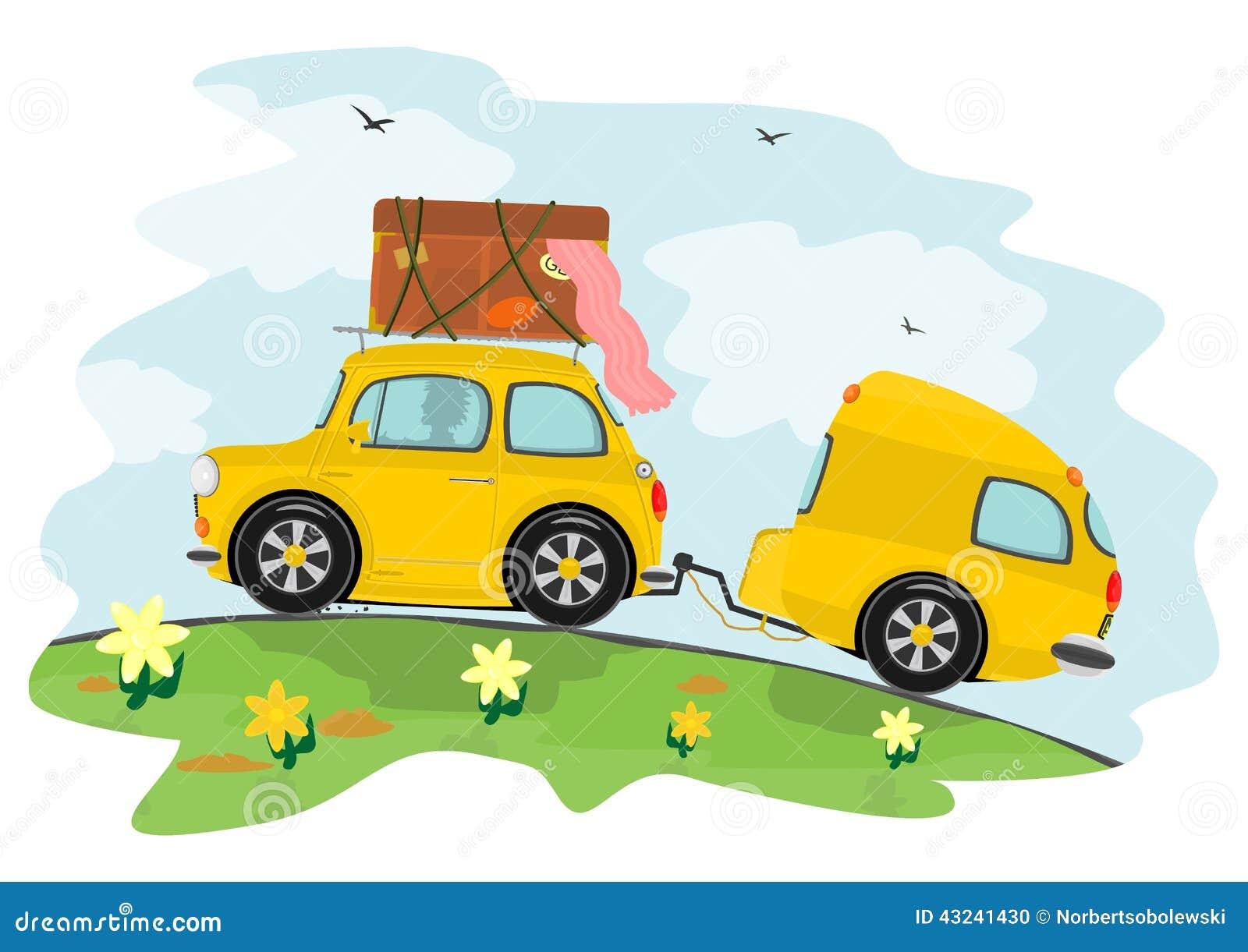 Auto En Caravan Vector Illustratie Beeld 43241430